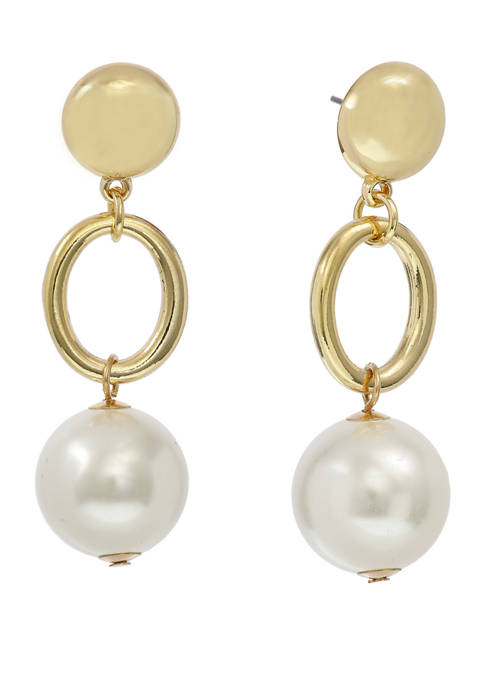 Gold Tone Linear Oval Ring Drop Earrings with Pearl Bead