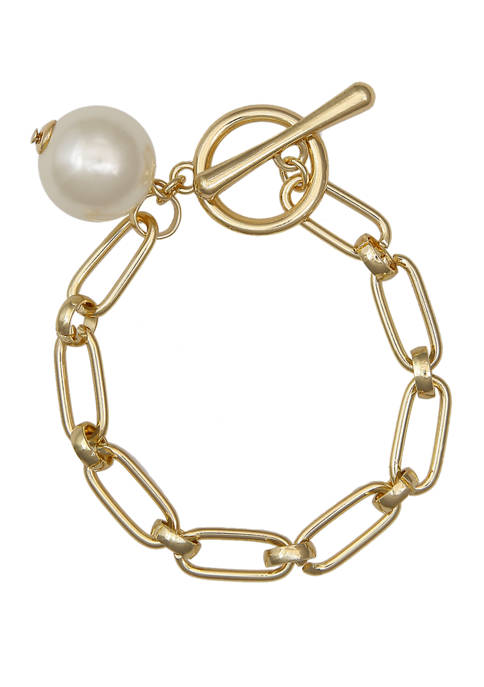 Gold Tone Paperclip Chain Toggle Bracelet with Pearl Bead