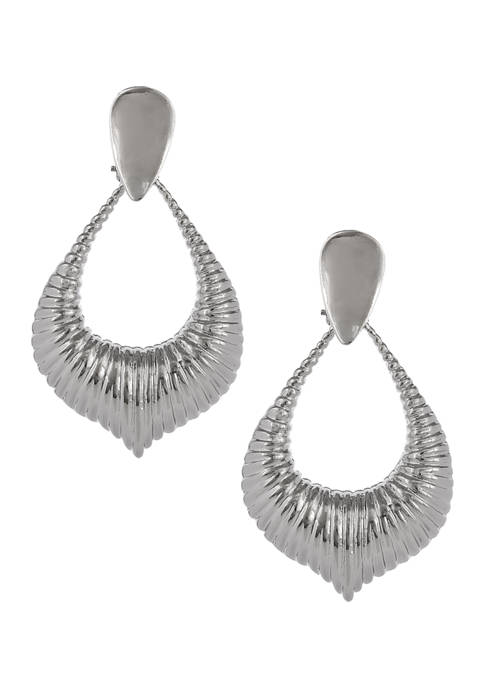 Silver Tone Textured Teardrop Clip Earrings