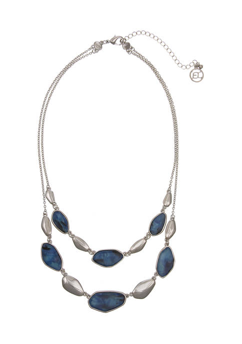 Erica Lyons Silver Tone Multi Row Necklace