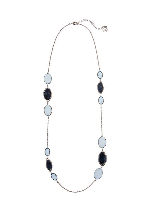 Silver Tone Blue Bead Long Necklace