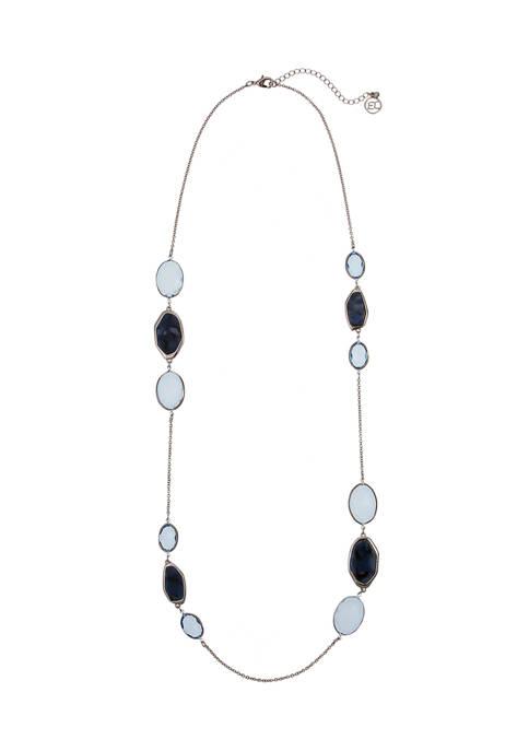 Erica Lyons Silver Tone Blue Bead Long Necklace
