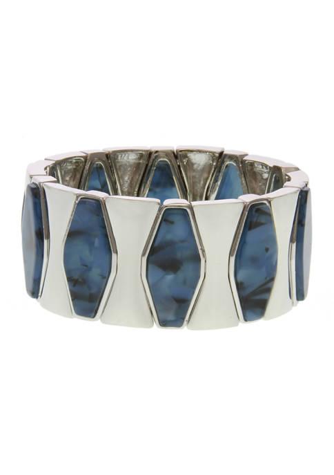 Erica Lyons Silver Tone Blue Bead Stretch Bracelet