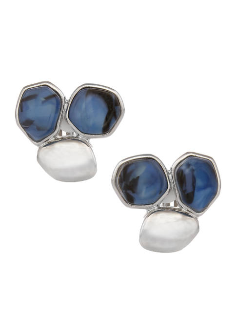 Silver Tone Blue Button Clip Earrings