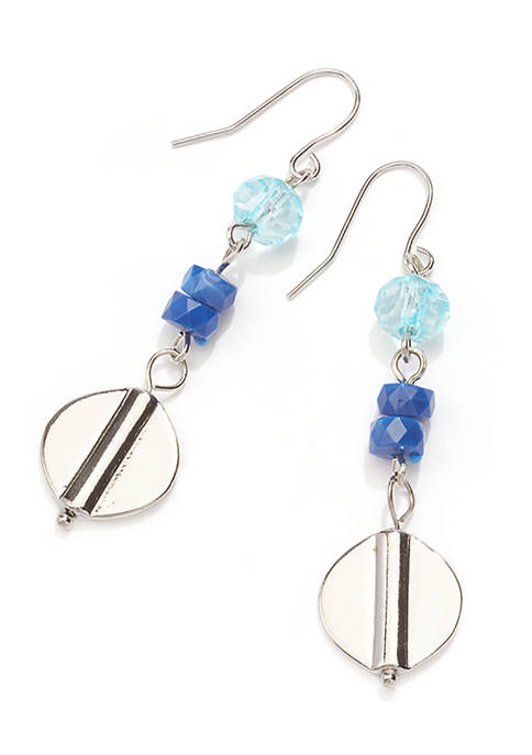 Erica Lyons Silver Tone Short Linear Drop Earrings