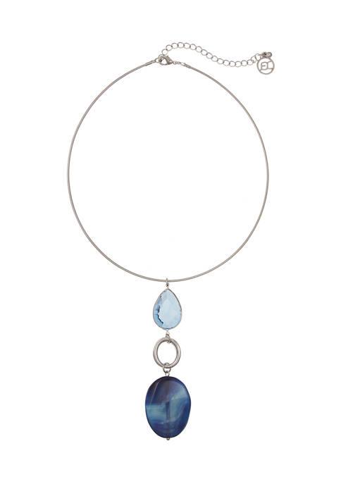 Silver Tone Coil Pendant Necklace