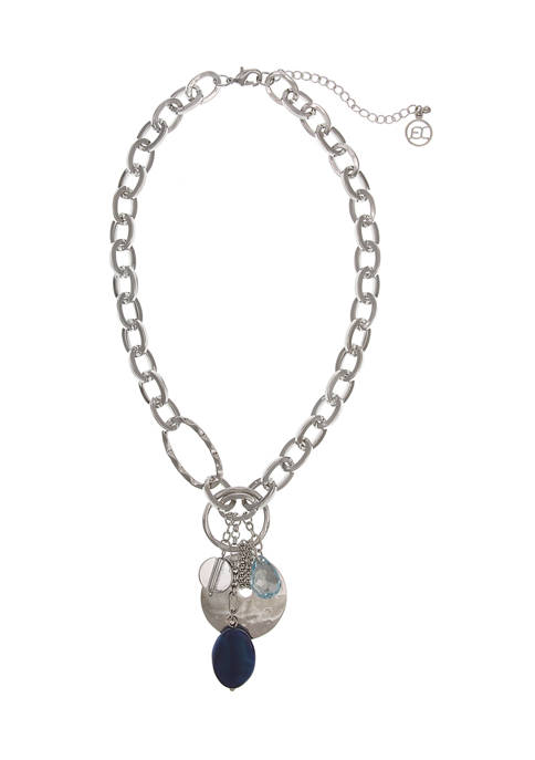 Erica Lyons Silver Tone Chain Cluster Necklace