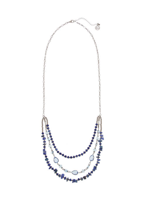 Erica Lyons Silver Tone Multi Row Beaded Necklace