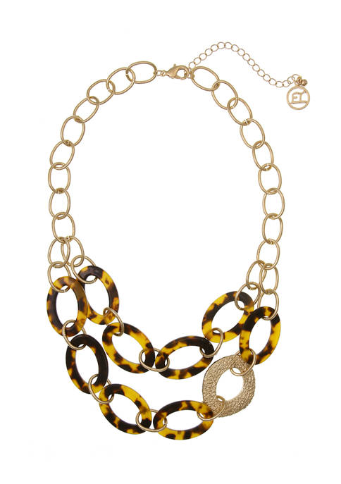 Gold Tone 2 Row Resin Tortoise Ring Necklace with Textured Ring Accent