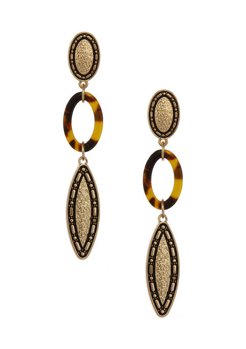 Erica Lyons Gold Tone Linear Pierced Earrings with
