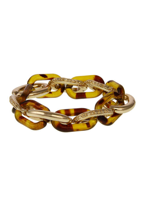 Gold Tone Link and Resin Tortoise Stretch Bracelet
