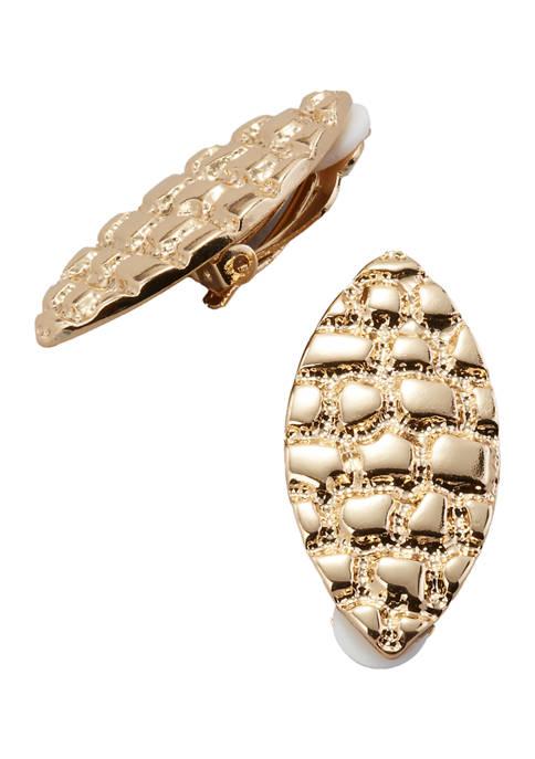Navette Button Clip On Earrings