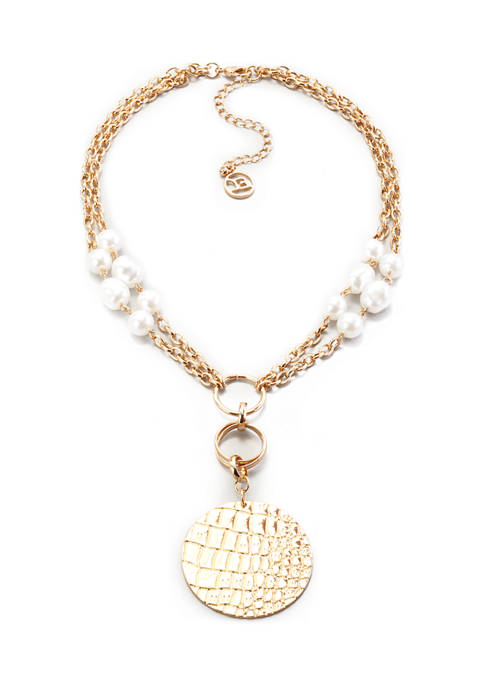 Erica Lyons Chain and Pearl Medallion Necklace
