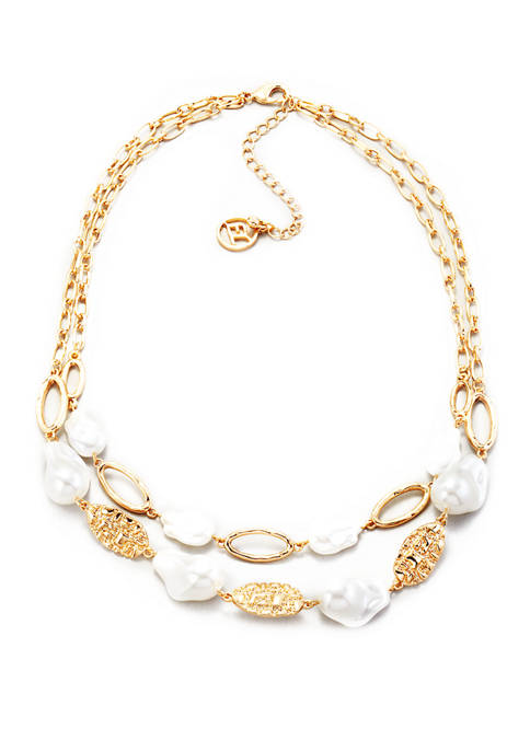 Erica Lyons Chain and Pearl Double Row Necklace