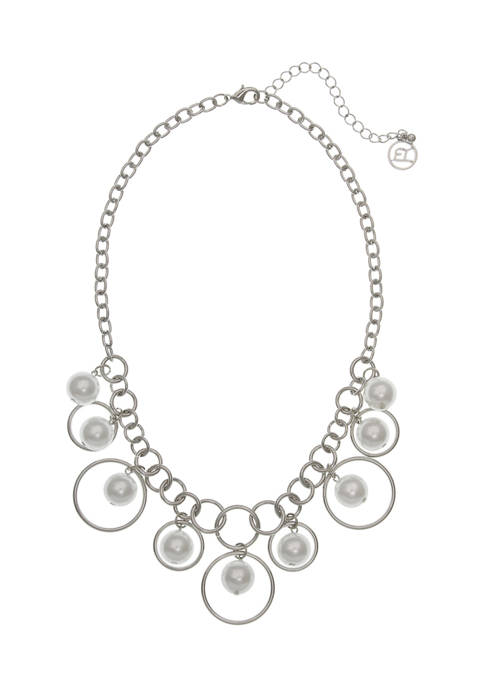 Silver Tone Pearl & Ring Collar Necklace