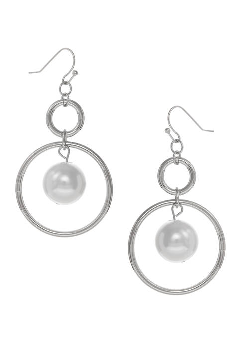Erica Lyons Silver Tone Ring Drop Earrings with