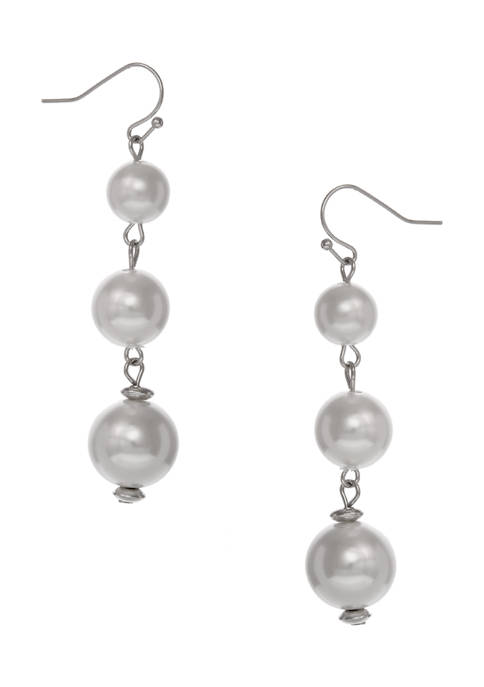 Silver Tone Linear Earrings with 3 Pearl Drops