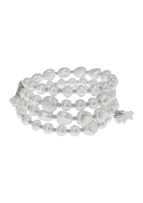Erica Lyons Silver Tone and Pearl Bead Coil