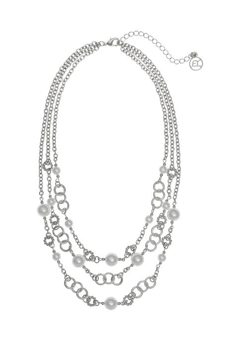 Silver Tone and Pearl 3 Row Necklace