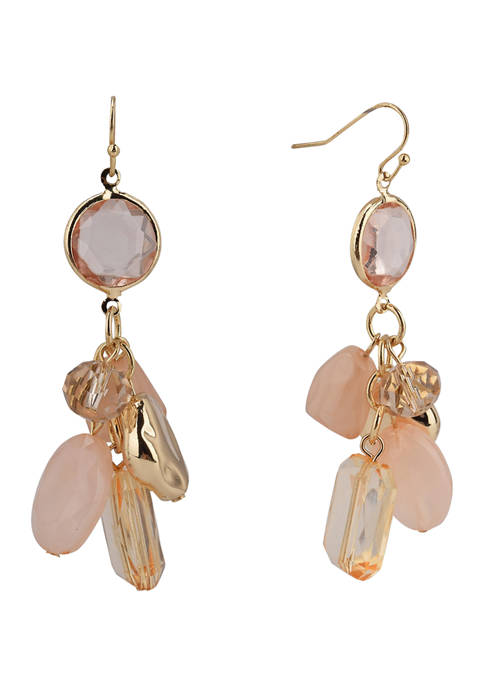 Erica Lyons Gold Tone and Blush Bead Cluster