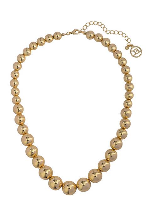 Erica Lyons Gold Tone Beaded Collar Necklace