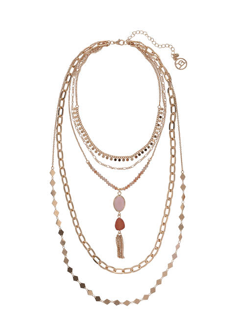 Erica Lyons Gold Tone Layered Chain Necklace with