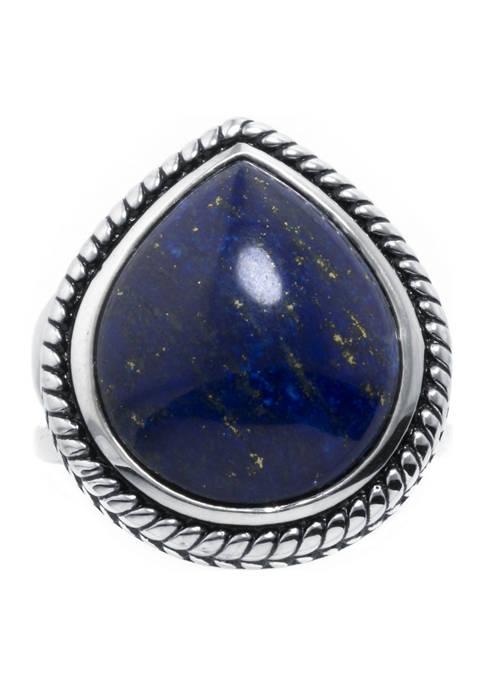 Belk Silverworks Sterling Silver Lapis Rope-Edge Teardrop Ring