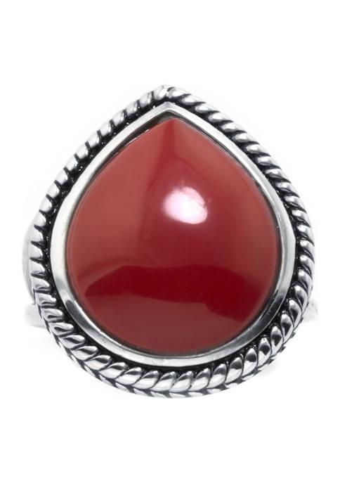 Belk Silverworks Sterling Silver Simulated Red Jasper Rope-Edge