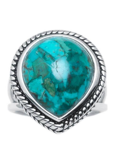 Belk Silverworks Sterling Silver Enhanced Turquoise Rope-Edge