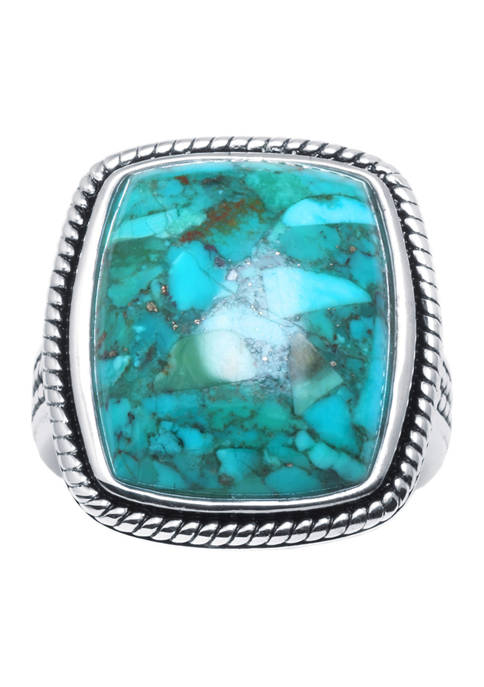Belk Silverworks Sterling Silver Simulated Turquoise Rectangle