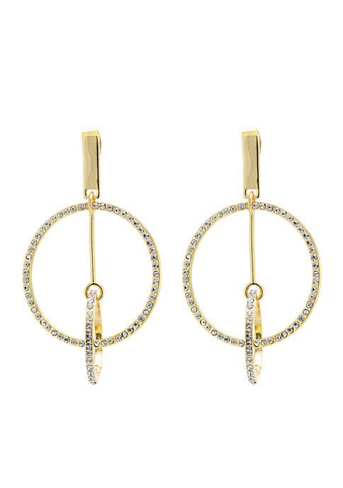 Belk Silverworks Crystal Pave Double Circle Dangle Earrings