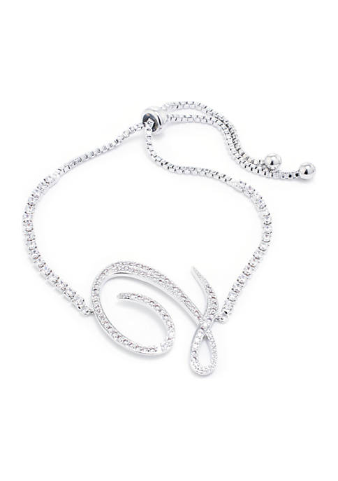 Belk Silverworks Fine Silver-Plated Cubic Zirconia Pave Initial