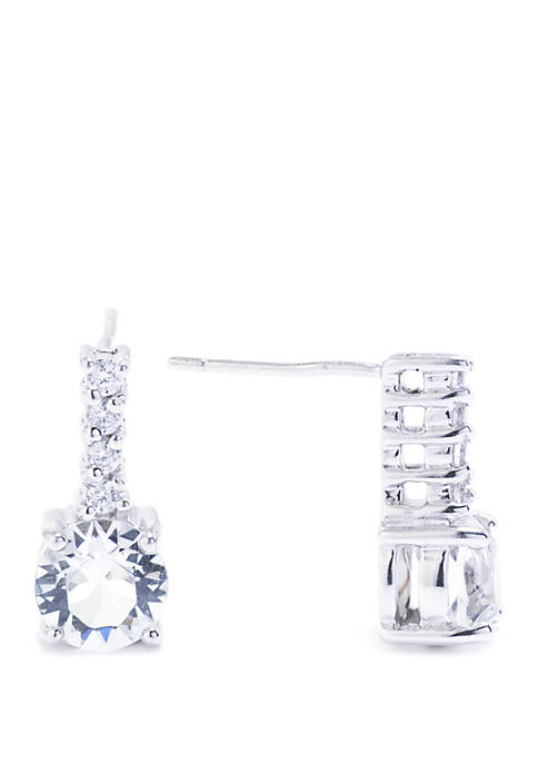 Boxed Sterling Silver Swarovski Crystal and Cubic Zirconia Bar Drop Earrings