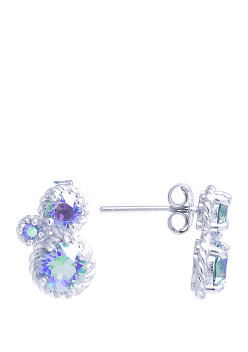 Sterling Silver Swarovski Crystal Cluster Rope Earrings