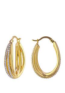 Belk Silverworks Crystal Pave Click Top Twist Hoop Earrings