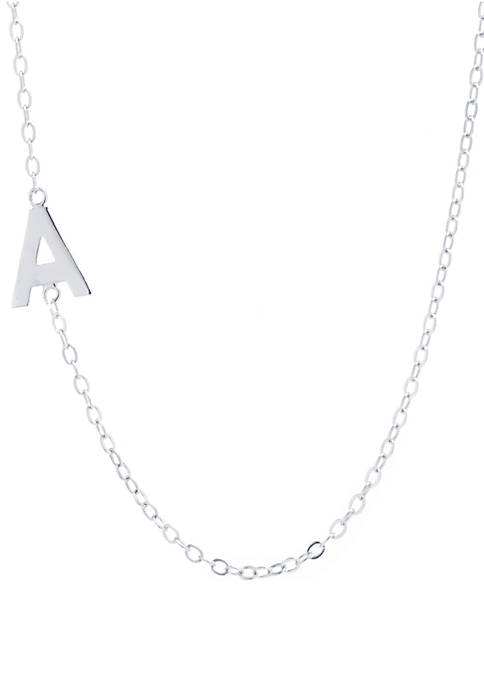 Sterling Silver Small Side Initial Necklace