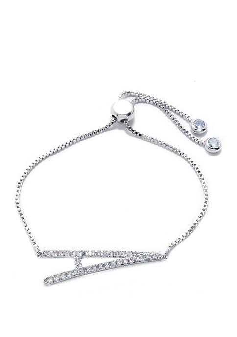 Belk Silverworks Initial Cubic Zirconia Slider Bracelet