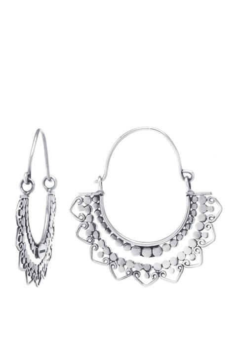 Infinity Silver Sterling Silver Bali Beaded Hoop Earrings