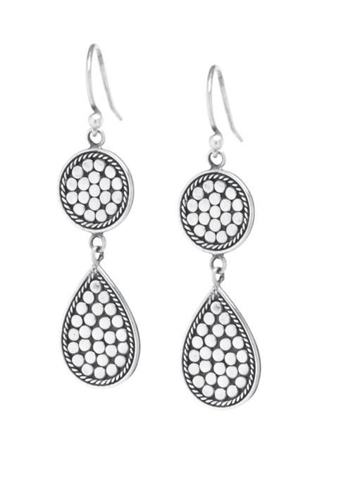 Sterling Silver Bali Beaded Round Teardrop Earrings
