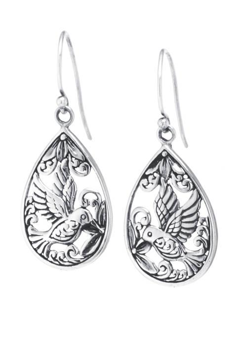 Sterling Silver Bali Hummingbird Teardrop Earrings
