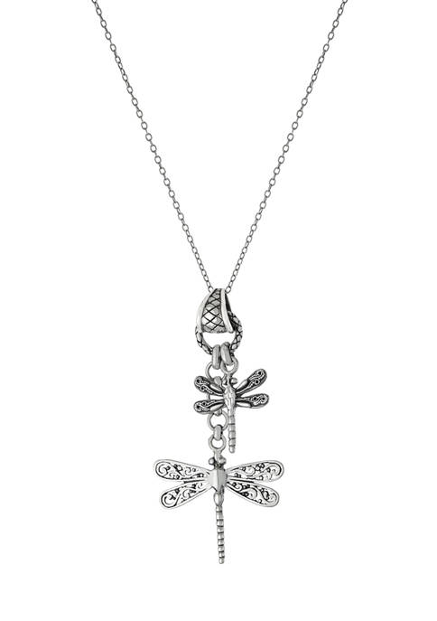 Infinity Silver Oxidized Sterling Silver Double Dragonfly Pendant