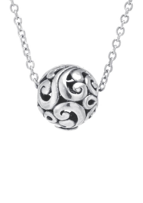 Infinity Silver Sterling Silver Bali Round Sphere Pendant