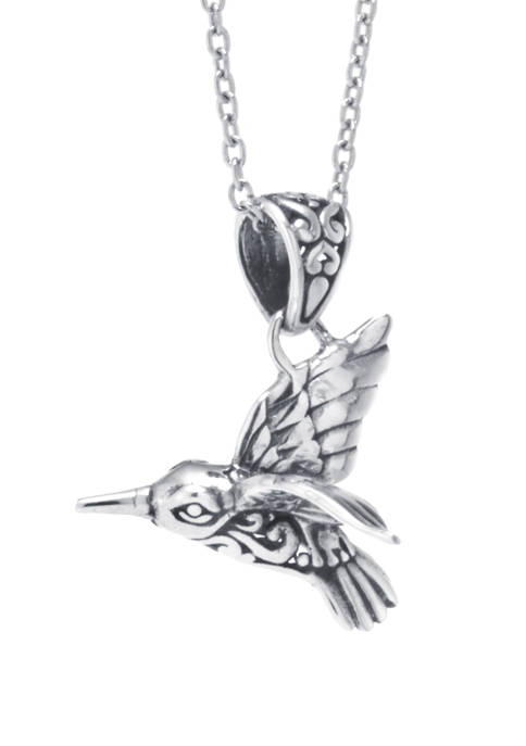 Infinity Silver Sterling Silver Bali Hummingbird Pendant Necklace