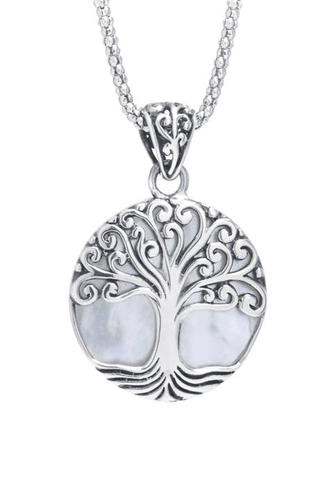 Sterling Silver Bali Round Mother of Pearl Tree of Life Pendant Necklace