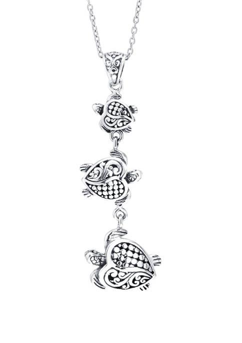 Infinity Silver Sterling Silver Bali Triple Turtle Drop