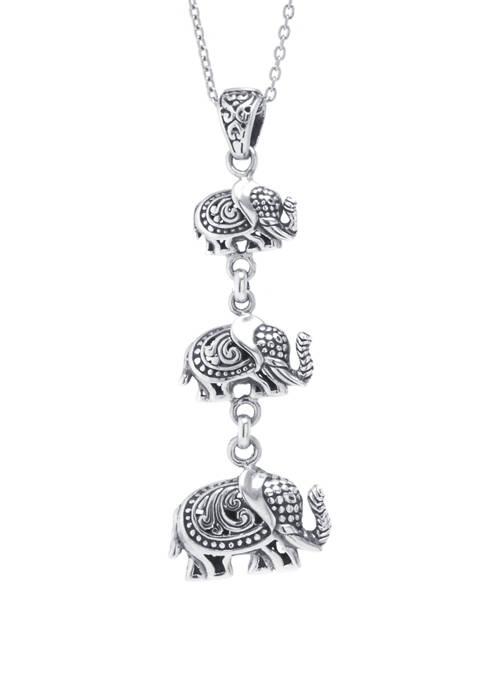 Infinity Silver Sterling Silver Bali Triple Elephant Pendant