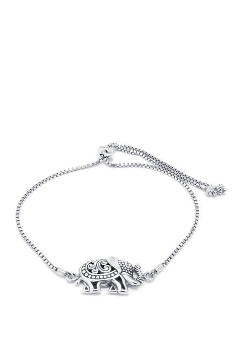Sterling Silver Bali Inspired Adjustable Elephant Bracelet