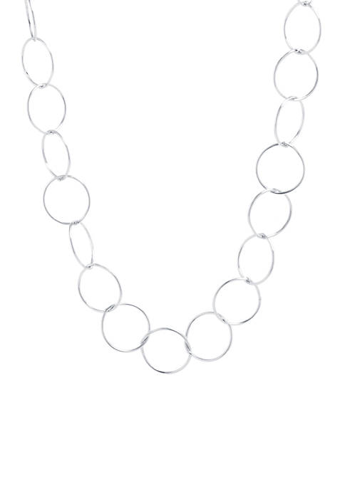 Sterling Silver 60 in Open Circle Link Necklace