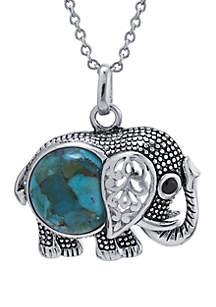 Silver-Tone Elephant Pendant Necklace