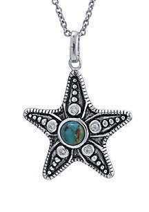 Silver-Tone Turquoise Starfish Pendant Necklace